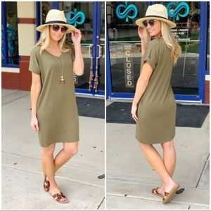✨RESTOCKED✨Olive T-Shirt Dress with Pockets